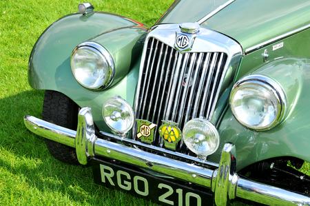 british: NOTTINGHAM, UK. JUNE 1, 2014: MG retro car displayed at the vintage car fair in Nottingham, England.