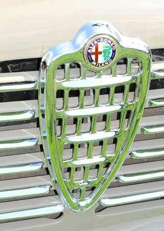 alfa: NOTTINGHAM, UK. JUNE 1, 2014: Alfa Romeo retro car displayed at the vintage car fair in Nottingham, England.