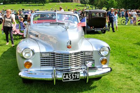 old car: NOTTINGHAM, UK. JUNE 1, 2014:Cadillac retro car displayed at the vintage car fair in Nottingham, England. Editorial