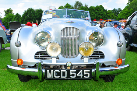 old car: NOTTINGHAM, UK. JUNE 1, 2014: Jowett Jupiter vintage car for sale in Nottingham, England.