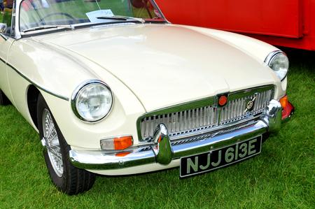 car show: NOTTINGHAM, UK. JUNE 1, 2014: MG vintage car for sale in Nottingham, England.