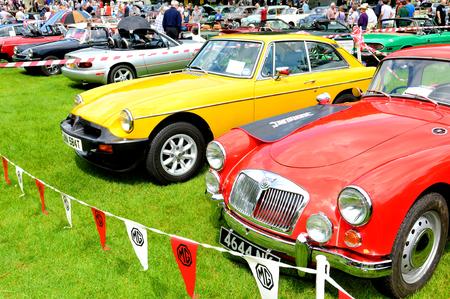 garages: NOTTINGHAM, UK. JUNE 1, 2014: View of vintage MG cars for sale in Nottingham, England. Editorial
