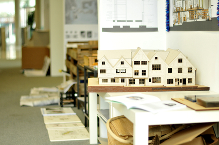 scale model: NOTTINGHAM, UK. JUNE 1, 2014: Architectural models on display during the degree show at Nottingham Trent University Editorial