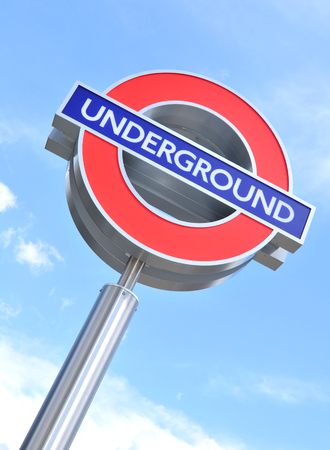 illustrative editorial: LONDON, UK - JULY 9, 2014: Close up of London Underground sign illustrative editorial Editorial
