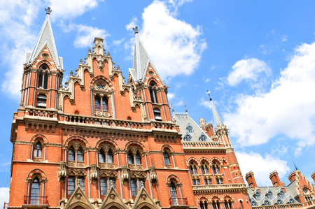 pancras: LONDON, UK. JULY 9, 2014: Architecture of the St. Pancras Renaissance hotel in London Editorial