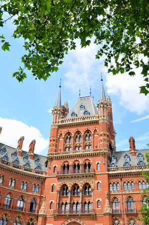 pancras: LONDON, UK. JULY 9, 2014: The architecture of the St. Pancras Renaissance hotel in London