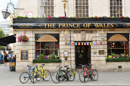 LONDON, UK. JULY 9, 2014: Facade of the Prince of Wales traditional British pub in central in central London Publikacyjne