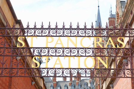 pancras: LONDON, UK - JULY 9, 2014: Entrance to St Pancras train station in London