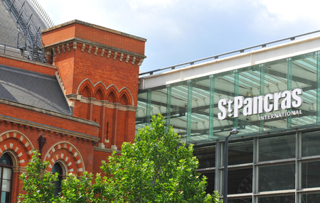 pancras: LONDON, UK. JULY 9, 2014: St. Pancras International train station in London.