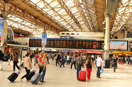 ticketing: LONDON, UK - JULY 9, 2014: Rush hour in Victoria Station, London Editorial