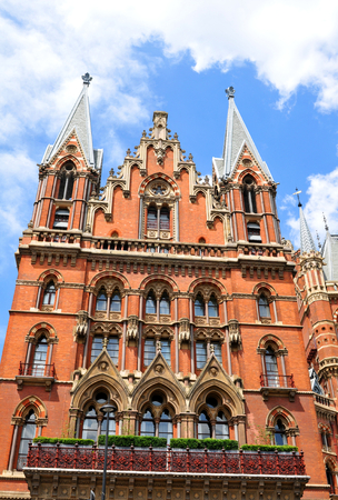 pancras: LONDON, UK - JULY 9, 2014: Architectural detail of the St. Pancras train station in London