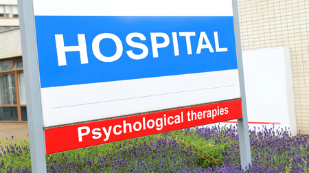 nhs: Psychological therapies sign at the hospital