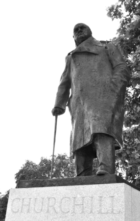 winston: Statue depicting Winston Churchill, famous British politician who was the Prime Minister of the United Kingdom from 1940 to 1945 Stock Photo