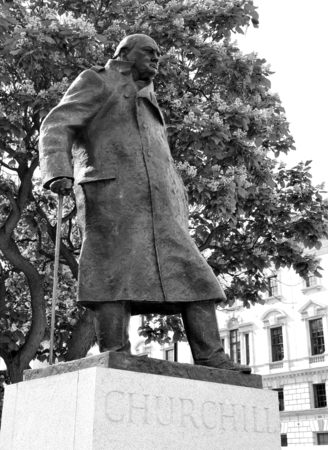 churchill: Statue depicting Winston Churchill, famous British politician who was the Prime Minister of the United Kingdom from 1940 to 1945 Stock Photo