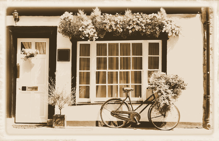 white window: Vintage theme with bicycle against old building