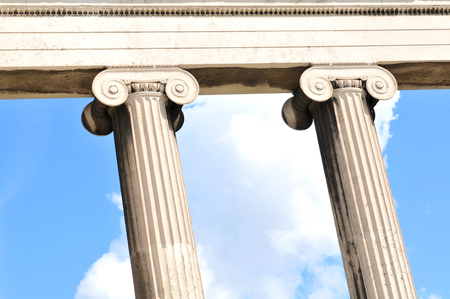 ionic: Architectural detail of Greek columns Stock Photo