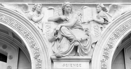 muse: Architectural detail depicting the Science muse Stock Photo