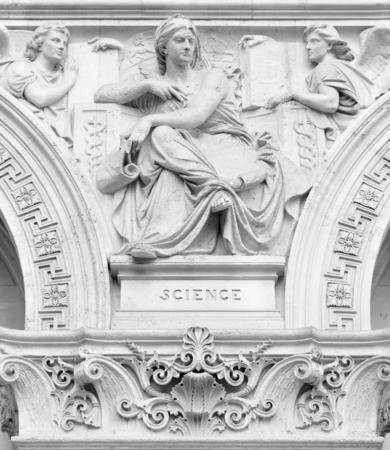 diosa griega: Detalle arquitectónico que representa a la musa Ciencia