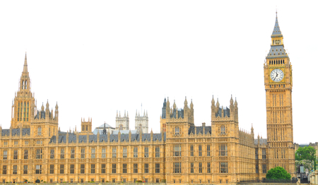city of westminster: Architectural panorama of the famous Westminster Palace in London isolated against white