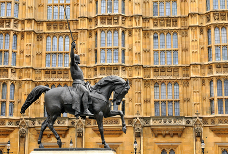 destinations: Architecture detail of equestrian statue at Westminster Abbey in London Stock Photo