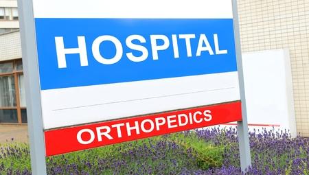 orthopaedics: signo de la ortopedia en el hospital Foto de archivo