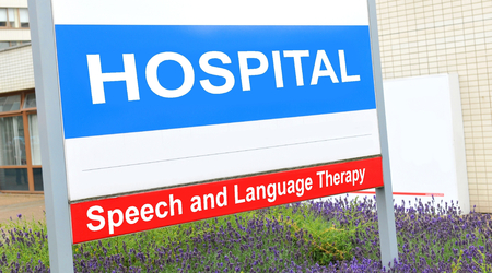 outpatient: Speech and language therapy sign at the hospital Stock Photo