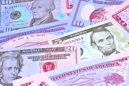 refunds: US Dollars background Stock Photo