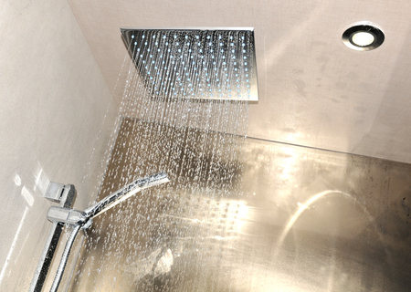 Detail of modern ceiling shower