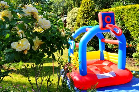castle: Colorful bouncing castle in the garden