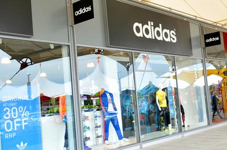 London, UK - June 14, 2015: Detail of Adidas store.