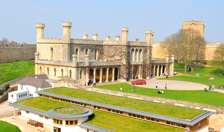 midlands: Lincoln, UK - April 9, 2015: Lincoln Castle is a major castle constructed in East Midlands, England during the late 11th century Editorial