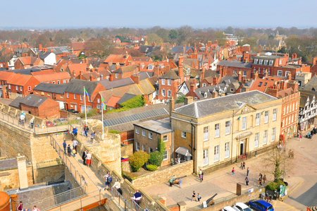 lincoln: Lincoln, UK - April 9, 2015: Roofs of old buildings in Lincoln, England