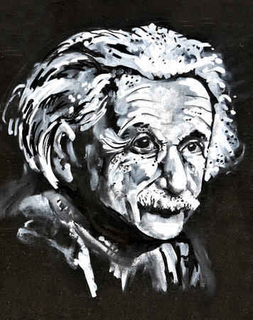 LINCOLN, UK - APRIL 9, 2015: Graffiti depicting famous scientist Albert Einstein decorates wall in the centre of Lincoln, UK Editorial