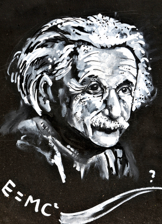 LINCOLN, UK - APRIL 9, 2015: Graffiti depicting famous scientist Albert Einstein decorates wall in the centre of Lincoln, UK Editoriali