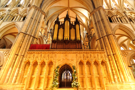 lincoln: Lincoln, UK - April 9, 2015: Detail of medieval organ inside Lincoln Cathedral.