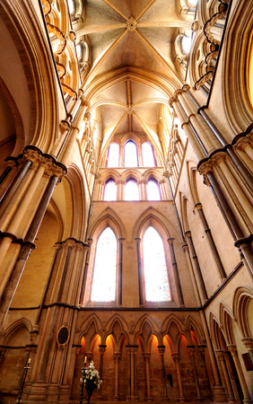 lincoln: Lincoln, UK - April 9, 2015: Wide angle view of the interior of Lincoln Cathedral.