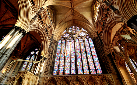 gothic window: Lincoln, UK - April 9, 2015: Detail of Gothic window inside Lincoln Cathedral. Editorial