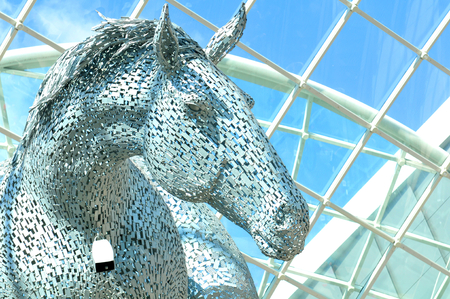 andy: LEEDS, UK - APRIL 17, 2015: Architectural detail of the futuristic sculpture Equus Altus by Andy Scott Editorial