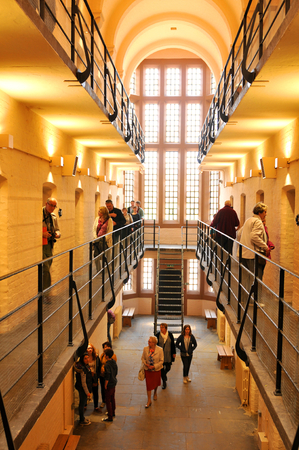 lincoln: Lincoln, UK - April 9, 2015: Interior of the medieval prison at Lincoln Castle