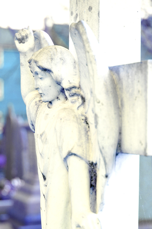cherubs: Close up of stone angel in the cemetery