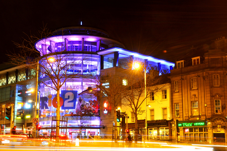 complex: NOTTINGHAM, UK - APRIL 1, 2015: Night view of the Corner House, major leisure complex in the city centre of in Nottingham, UK