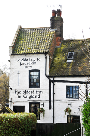 ye: NOTTINGHAM, UK - APRIL 1, 2015: Ye Olde Trip To Jerusalem in Nottingham established in 1189 AD is one of the oldest pubs in UK Editorial