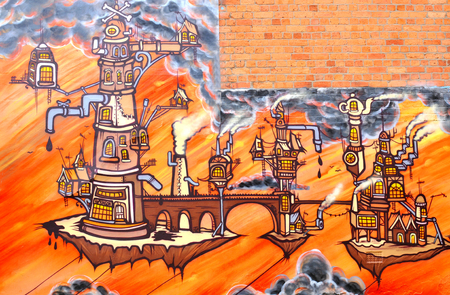surrealist: NOTTINGHAM, UK - APRIL 1, 2015:  Detail of street art abstract graffiti depicting fantasy world in Nottingham, East Midlands, England.