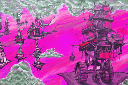 mundo contaminado: Nottingham, Reino Unido - 01 de abril 2015: Detalle de la calle el arte del graffiti abstracto que representa mundo de fantasía en Nottingham, East Midlands, Reino Unido