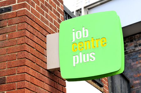 recruiters: NOTTINGHAM, UK - APRIL 1, 2015: Detail of Job Centre Plus sign in Nottingham, East Midlands, England.