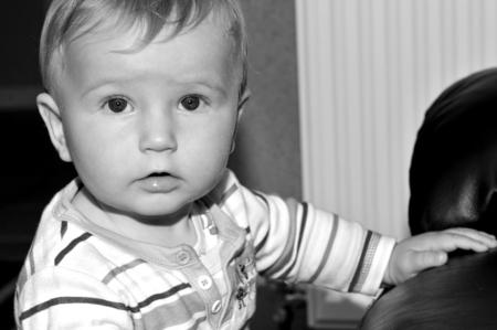 child portrait: Portrait of an autist child in monochrome Stock Photo