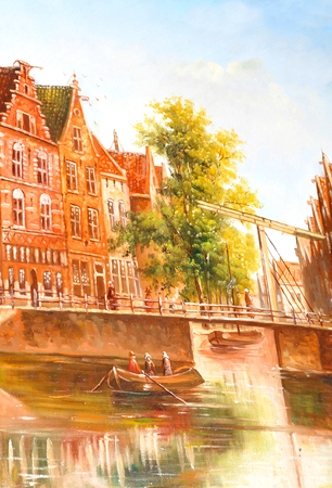 middle ages boat: Amsterdam painting