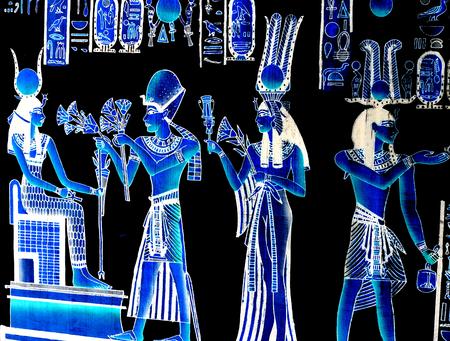 horus: Fondo con el faraón egipcio Foto de archivo