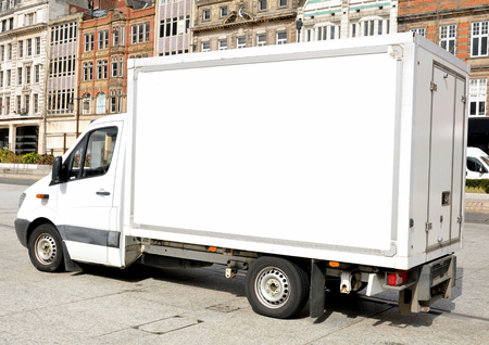 removal van: White removal van with copy spa Stock Photo