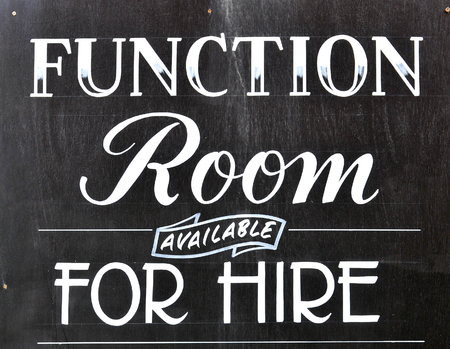 functions: Function room for hire sign on blackboard